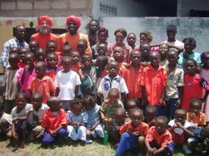 School Children with Dada Dayashiilananda and Dada Sarvajitananda